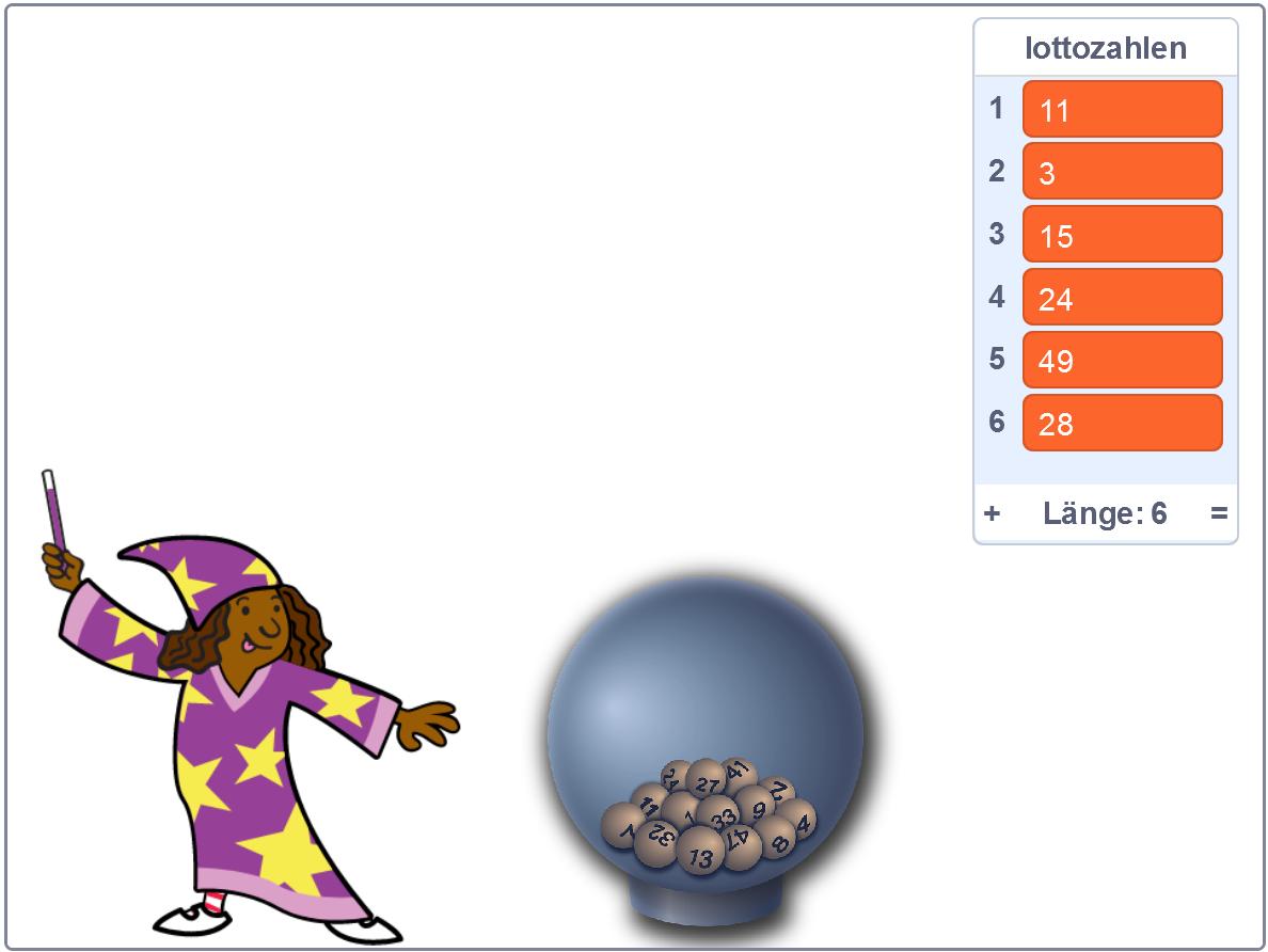 Scratch-Screenshot: Fee mit Lottozahlen-Array