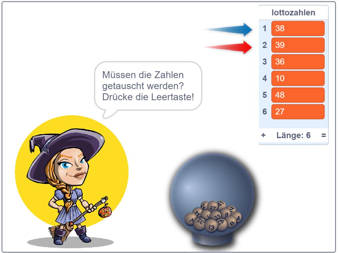 Scratch: Lottozahlen-Tauschen-Projekt