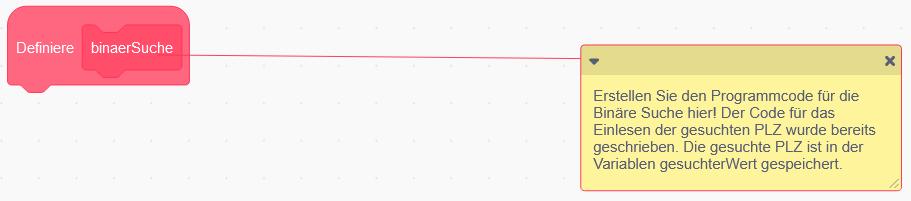 Scratch: Leeres Unterprogramm, in dem binär gesucht werden muss