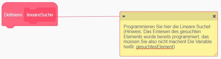 Scratch:Unterprogramm (leer) zur Linearen Suche