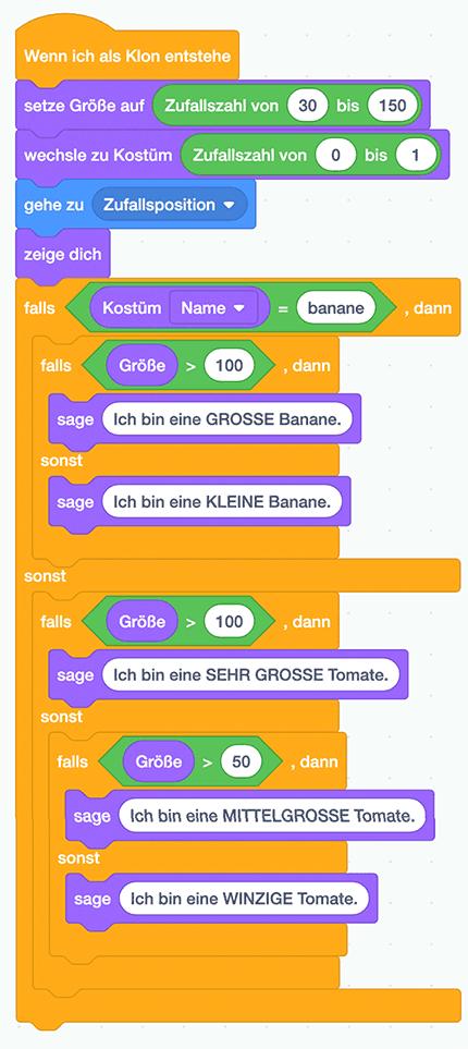 Scratch-Skript: Tomate-Banane-Problem