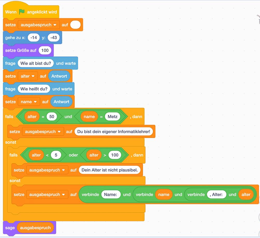 Scratch-Skript: Name und Alter abfragen und testen