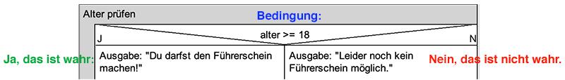 Struktogramm mit wahr-falsch-Bedingung: Altersprüfung